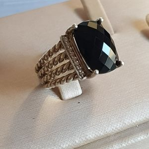 David Yurman Wheaton 16x12 Black Onyx Diamond Ring
